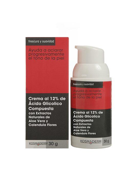 Caja y recipiente de Crema al 12% Ácido Glicolico compuesta
