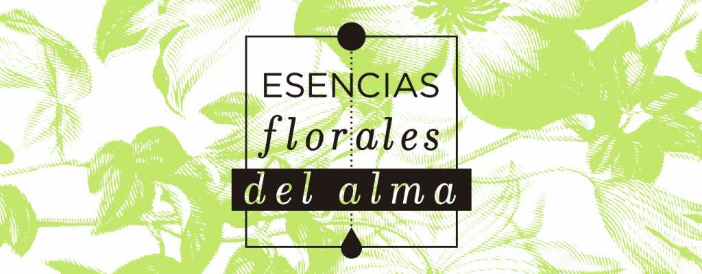 Logo esencias florales del alma en fondo de flores verdes