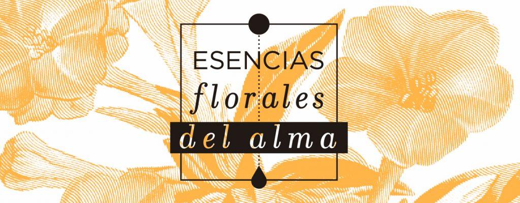 Logo esencias florales del alma en fondo de flores anaranjadas