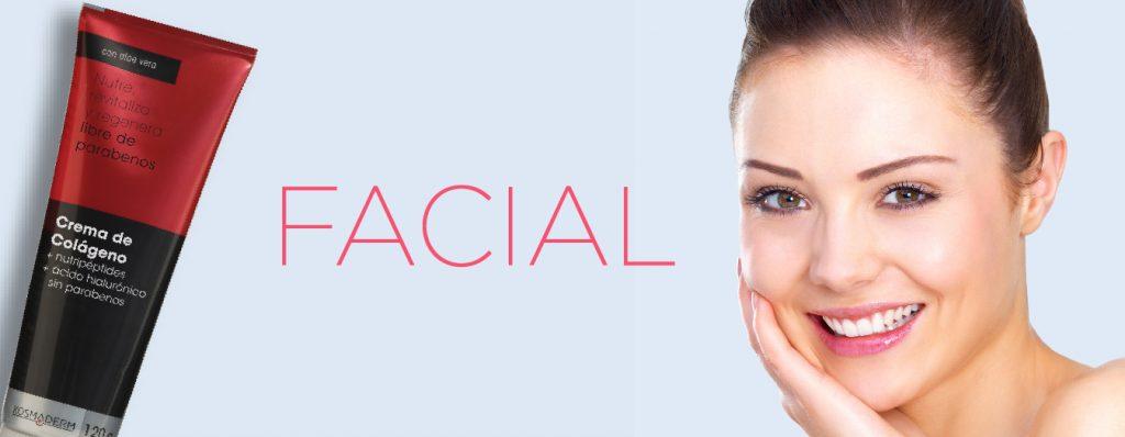 Logo facial color rosa en fondo azul claro con mujer joven sonriendo y recipiente de Crema de colágeno