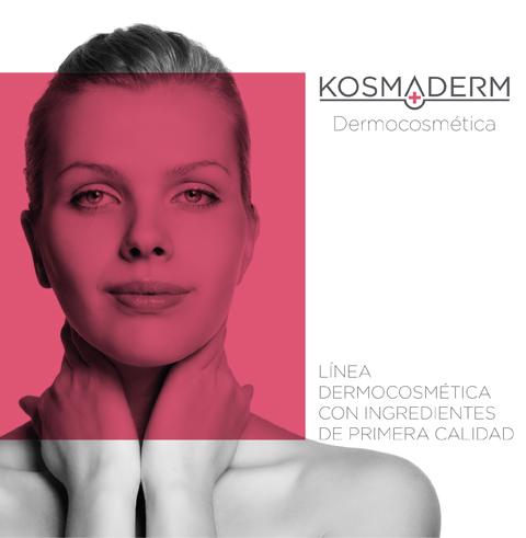 Mujer joven con piel sana y logo Kosmaderm